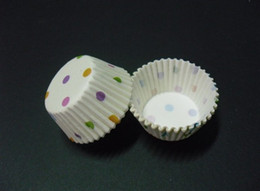 lastest cute mini white colorful dots 2.5inch(base 24mm) cupcake liners baking paper cup muffin cases for wedding Halloween graduation party