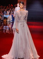 Cheap Cheap Runway Evening Dress Elie Saab Long Sleeves Bateau Neck Beaded Free Shipping
