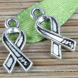 130pcs tibetan silver cancer awareness ribbon design charms EF0261