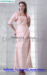 Wholesale 2013 New Arival Pink Long Sleeve Party Dresses A Line Strapless Appliqued Beaded Ankle Length Stretch Satin Ruched Zipper With A Jacket