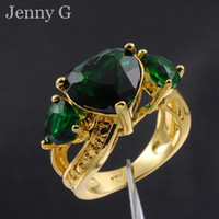 Wholesale Jenny G Jewelry Size Lady s Three stone Green Emerald Hearts K Yellow Gold Filled Ring for Women Gift