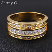 Wholesale Size Jenny G Jewelry Popular White Sapphire Gemstone KT Yellow Gold Filled Cocktail Band Ring for Men