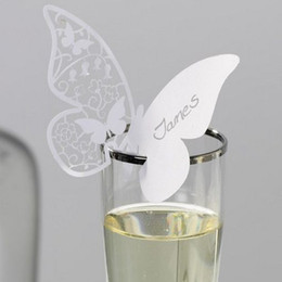 Wholesale Butterfly Name Place Cards Table Glass Card Wedding Bomboniere Party Favors