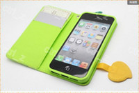 Wholesale Summer Korea Fruits ananas Strawberry Wallet Leather Case Stand Cover For iphone g in retail box