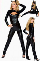 Wholesale Sexy Latex Catsuits Costumes for Women Halloween Catwomen Sexy onesies for Adults Cosplay Fantasy Female Cosplay Clothing Uniforms