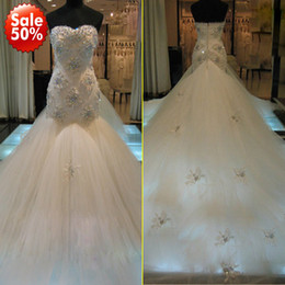 Wholesale 2013 New Collection Real Sample Sweetheart Luxury Crystal Lace Cathedral Train Tulle Beaded Mermaid Wedding Gown Bridal Dresses