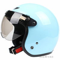 Wholesale Scooter Helmet quot quot Motorcycle Cycling Half Face Racing Bright Full Sky Blue Casco amp UV quot W quot Lens amp Visor Adult I