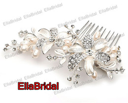 Wholesale Unique Vintage Ready to Ship High quality Crystal Pearl Stunning Wedding Bridal Crystal Floral Hair Accessory Headpiece
