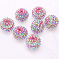 Wholesale 22mm round rainbow style ab colors resin rhinestone ball beads chunky necklace resin ball beads