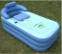 Wholesale Deluxe thickened PVC spa portable air bathtub brand large size inflatable bath tub with cushion and a manual air pump