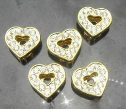 Wholesale 8mm 100pcs lot Rhinestones Gold Color Heart Slide letters fit for 8mm wristband bracelet fashion jewelrys