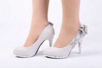 Suede Leather silver wedding shoes - Hot Sale Wedding Bridal Shoes Silver High Stiletto Bling Heels Sparkly Rhinestone Crystal Flower Party Shoes
