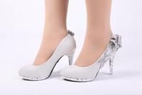 Rhinestone bridal shoes - Hot Sale Wedding Bridal Shoes Silver High Stiletto Bling Heels Sparkly Rhinestone Crystal Flower Party Shoes