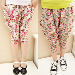 New style Kids Casual Pants Summer Cropped Trousers Tapered Flower Pants Girls Pants Kids Clothes Children Clothing Girls Wear