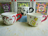 ECO Friendly   Colored drawing cat band ceramic bowl cereal bowl milk cup noodle bowl lovers cat flower pot