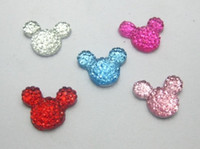 Wholesale 100 Mixed Color Flatback Resin Dotted Rhinestone Gems Mouse Head X12mm