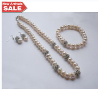 Wholesale Natrual Freshwater Pearl Bridal Jewellery Set Pearl Jewelry Sets Pearl Crystal Necklace Earring Bracelets Wedding Jewelry Cheap Promotions
