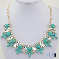 Wholesale Lily horse eye glass Mosaic stone fashion model necklace