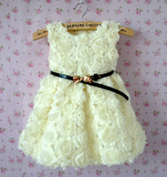 Wholesale Kids Girls Dress Rose Flower Belted Dresses Fantasy Children Clothing Princess Birthday Cotton Clothes