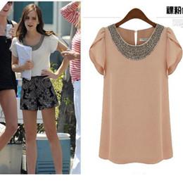 Wholesale Hollywood Star Beads Collar Shirt Shirts Women round collar lace Tshirt W4131