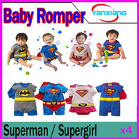 Wholesale CHpost Baby Romper long sleeve superman supergirl Dress Cloak clothing RW CC