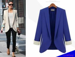 Wholesale Hot Sell Western Blue Color Size Women s Basic Slim Foldable Casual Candy Suit Jacket Long Sleeve Tuxedo Blazer