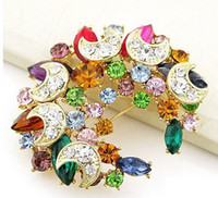 Wholesale High Quality Garment Accessories Flower Crystal Wedding Chair Sashes Bridal Wearing Colorful Shiny Moon Brooch Pin