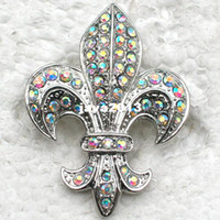 Wholesale piece Aurora Borealis Crystal Rhinestone Fleur De Lis Sign Pin Brooch Pendant Brooches Jewelry C323 F