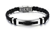 Wholesale N766 New jewelry black PU leather Stainless Steel Men s Bracelet for boyfreinds XMAS GIFT silver