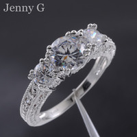 Wholesale Jenny G Jewelry Lady s White Sapphire Stone KT White Gold Filled Wedding Ring for Women Nice Gift