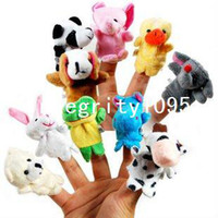 Finger Puppets Christmas  Free Shipping Baby Plush Toy Finger Puppets Tell Story Props(10 animal group) Animal Doll Kids Toys Children Gift 80554