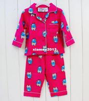 Unisex Summer other Retail free shipping children clothing Giggle and Hoot girl long sleeved flannel pyjamas pajamas sleepwear top+ pants suits