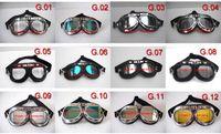 al por mayor goggles steampunk-Gafas de aviador de la motocicleta CE Aprobar desgaste de ciclo de UV lentes de los vidrios de la bicicleta del casco del crucero de Steampunk Racing de ojos - envío libre - 12 colores