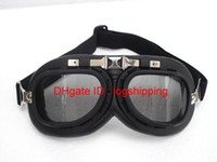 Wholesale Motorcycle Goggles Aviator CE Approve Cycling Matt Black Frame UV Brown Smoke Lens Glasses Steampunk Cruiser Helmet Racing Eye wear T