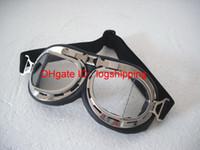 Gafas de la motocicleta Vintage CE Aprobar biselado de chapa marco de plata UV claro lente gafas Steampunk crucero casco Racing desgaste de los ojos - T-08