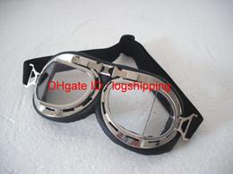 Cascos de carreras de la vendimia en Línea-Gafas de la motocicleta Vintage CE Aprobar biselado de chapa marco de plata UV claro lente gafas Steampunk crucero casco Racing desgaste de los ojos - T-08
