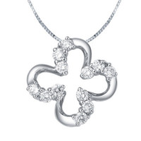 Necklace Round Brilliant Cut White G-J Real natural diamond jewelry wedding engagement women pendant Certifiate SI G-J Good Cut 0.12ct 18k white gold factory price flower XTP0049