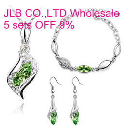 Wholesale 1set OL European han edition kt white gold crystals fashion Earrings necklace and bracelet Women girls gift Jewelry sets tz