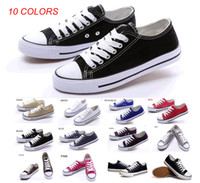 Lace-Up Unisex Spring and Fall Brand New Women's Men's Unisex Canvas Shoes High Low-Top Adult Laced Up Casual Shoes Star Athletic Shoes Sneaker 10 Colors 35~45 sizes