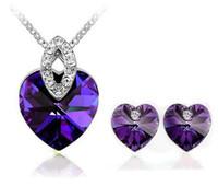 Women's apple green earrings - 1set Hot sale OL Apple Ocean Heart KT white gold Austrian crystals fashion Pendant Earrings Necklace Jewelry sets tz16