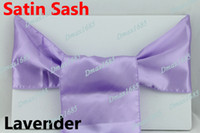 Wholesale 25 Lavender Wedding Satin Chair Cover Sashes Sash Party Banquet Decor Bow Colours