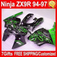 al por mayor 1996 carenados personalizados zx9r-7gifts Para KAWASAKI 94-97 NINJA ZX9R Verde llamas negro 94 95 96 97 ZX-9R C # 1526 1994 1995 1996 1997 ZX 9R 9 R Custom Carenado de carrocería HOT