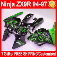 7gifts For KAWASAKI 94- 97 NINJA ZX9R Green flames black 94 9...