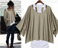Wholesale M L XL XXL Fashion Women Female Oversized T Shirts Tops Two Piece Suits Short Sleeve Solid Gray Khaki Black