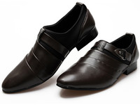 Wholesale Fashion New British Style Men Breathable Genuine Leather Buckle Pointed Dress Shoes