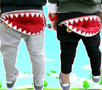 Wholesale Boys Girls Kids Spring Autumn Casual Harem Pants Zipper Pocket Shark Mouth Leisure Cotton Trousers Children s Casual Pants