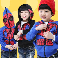 Wholesale Children s Autumn Hoodies Sweatshirts Boys amp Girls Zipper Fleece Hoodies Coat Sweater Spider Man Jacket Kids Clothing Garments