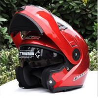 Wholesale ECE DOT helmet LS2 undrape face helmet OFF Road Helmet with ABS Red Color Motorcycle helmet Moto racing helmet Ls2 FF370 Motorbike helmet