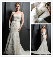 Wholesale 2013 Hottest Saison Blanche Strapless Sweetheart Low Back Lace Wedding Dress With Ribbon Designer Wedding Gown Latest Fashion Bridal Gowns