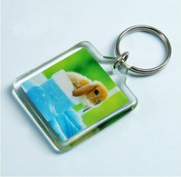 Wholesale Blank Acrylic Rectangle Keychains Insert Photo Keyrings Key ring chain quot x quot cm cm